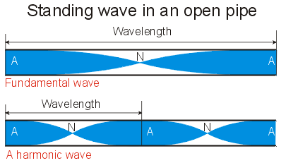 Fundamental and harmonic standing waves